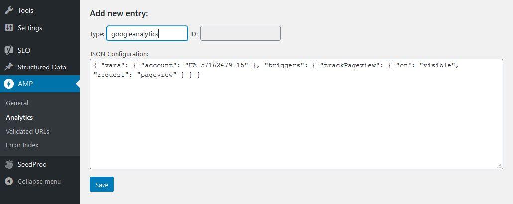 Installing AMP Anaytics JSON code via AMP for WordPress