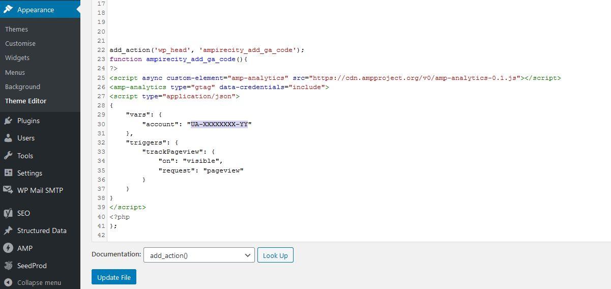 Adding AMP Google Analytics JSON code via WordPress Theme Editorr