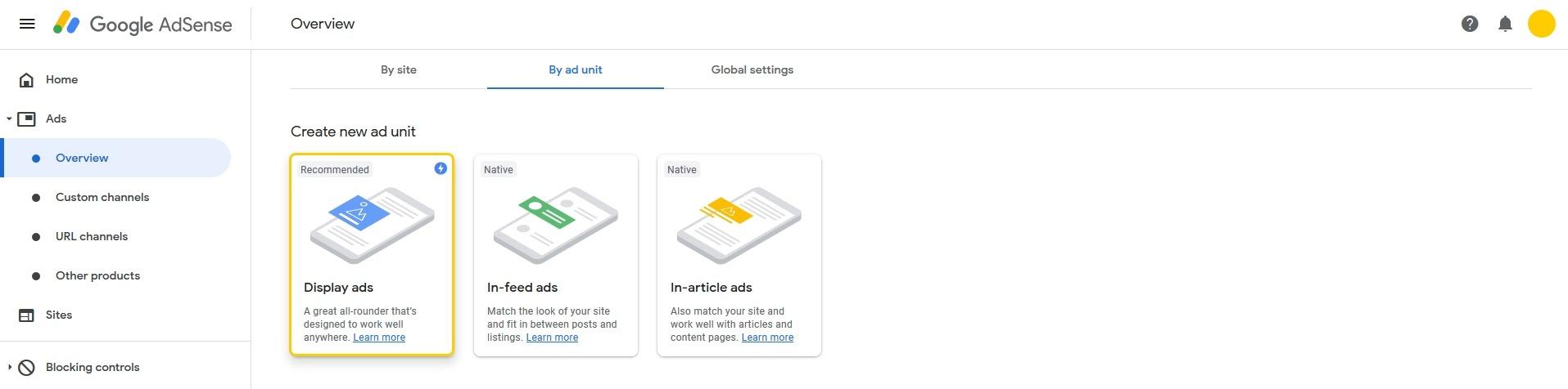 Creating AMP-AD Unit on Google AdSense